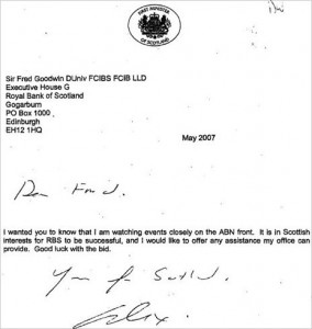 Alex Salmond's letter to Fred Goodwin