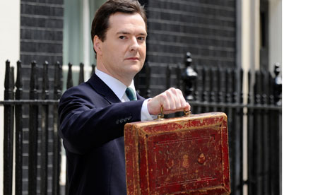George Osborne - Budget 2011 - with Budget Box outside 11 Downing Street