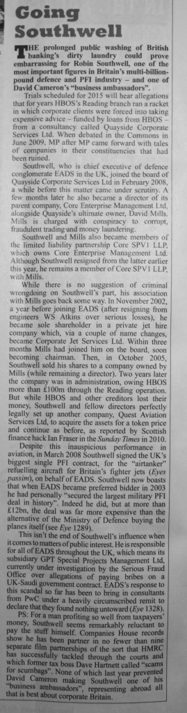Southwell article from Private Eye 21 Dec 2013
